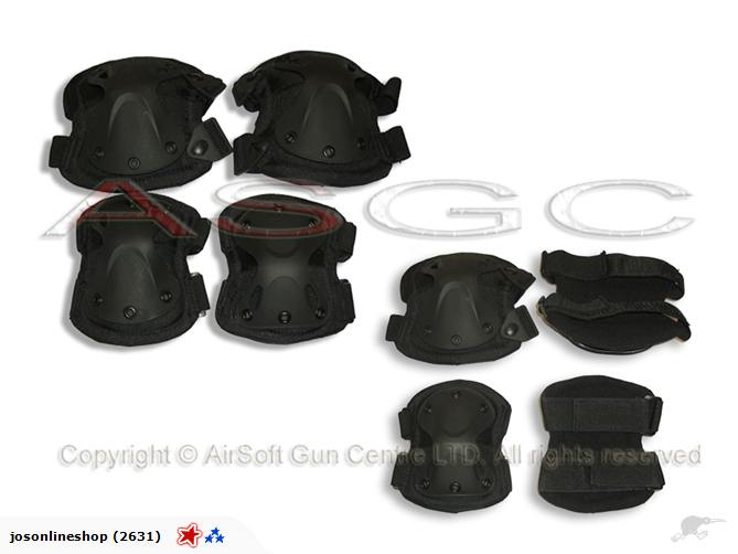 Wolf Froce Tactical X Shape Knee & Elbow Pads Set - BK
