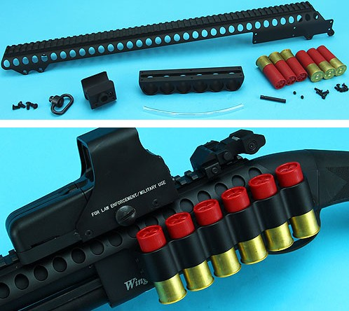 G&P Shotshell Receiver Rail Set for G&P M870 Shotgun (Long, BK)