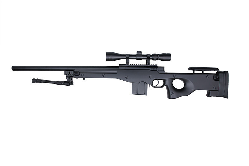 WELL 4401D Spring Bolt Action Sniper Rifle w/ Scope & Bipod - BK