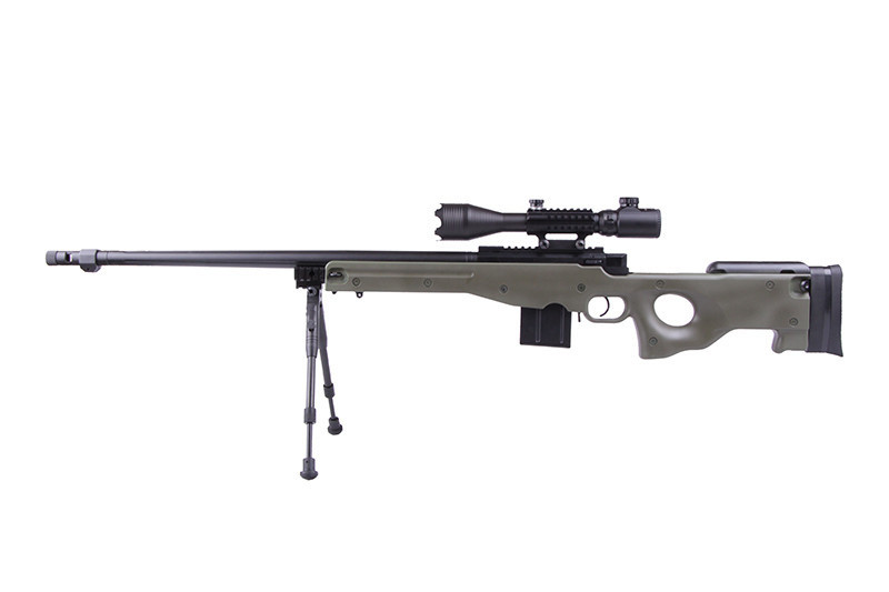 WELL 4402D Spring Bolt Action Sniper Rifle w/ Bipod & Scope - OD