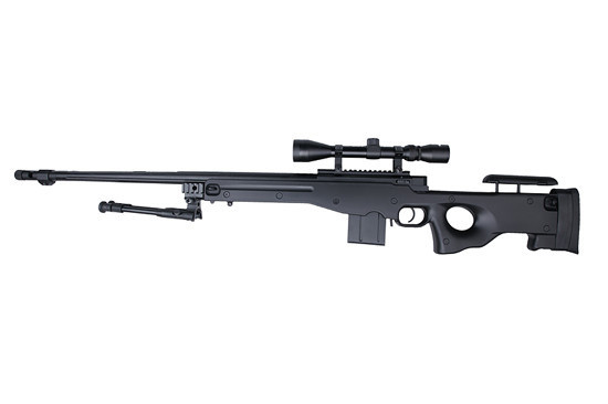 WELL 4402D Spring Bolt Action Sniper Rifle w/ Bipod & Scope - BK