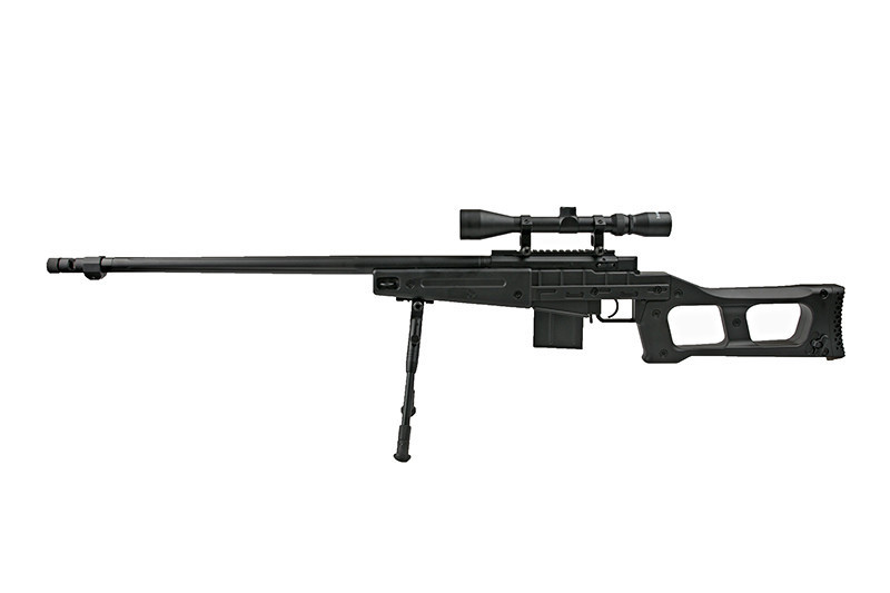 WELL 4409D Spring Bolt Action Sniper Rifle w/ Bipod &Scope - BK