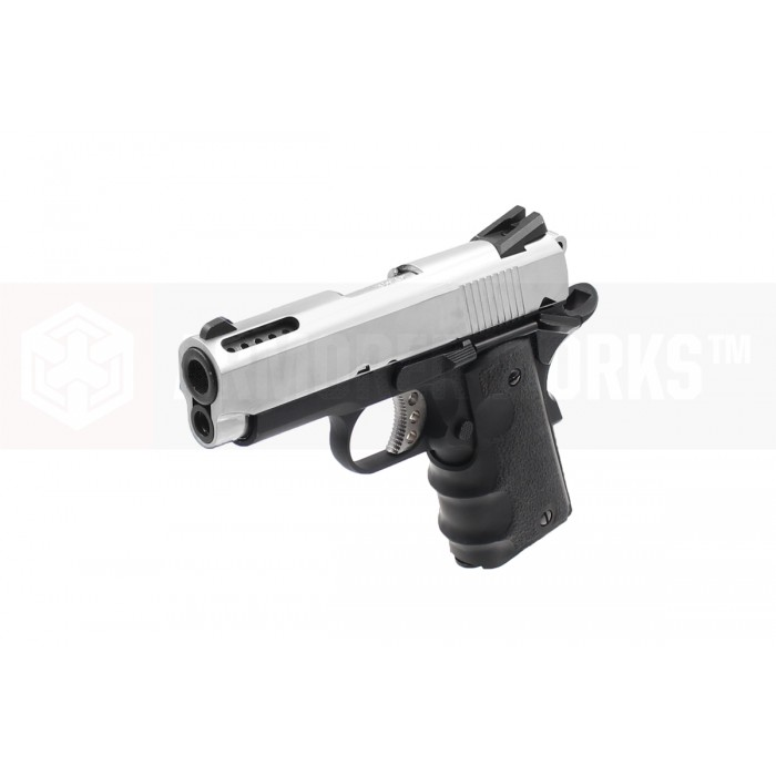 AW NE1003 Officer Compact 1911 GBB Pistol - Silver / Black