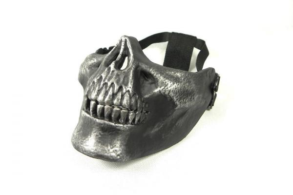 CM Cacique Plastic Skull HALF Mask In Silver black