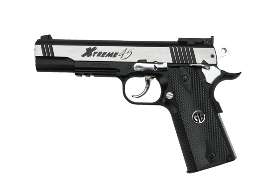 G&G Xtreme 45 CO2 Gas Blowback Pistol - Stainless Two Tone