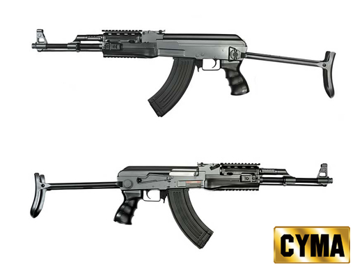 CYMA AK47S Assault Rifle AEG w/ rail handguard (CM.028-B, Black)