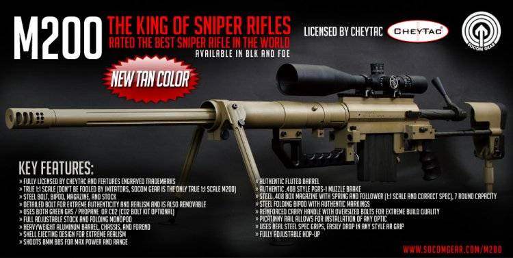 ASGC: Socom Gear Cheytac Licensed M200 Bolt-Action Sniper Rifle