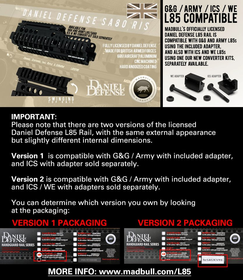 Madbull DD L85 rail adapter for WE