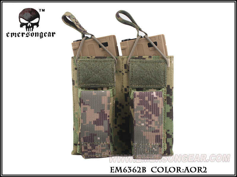Emerson 5.56 & Pistol Double Open Top Magazine Pouch - AOR2