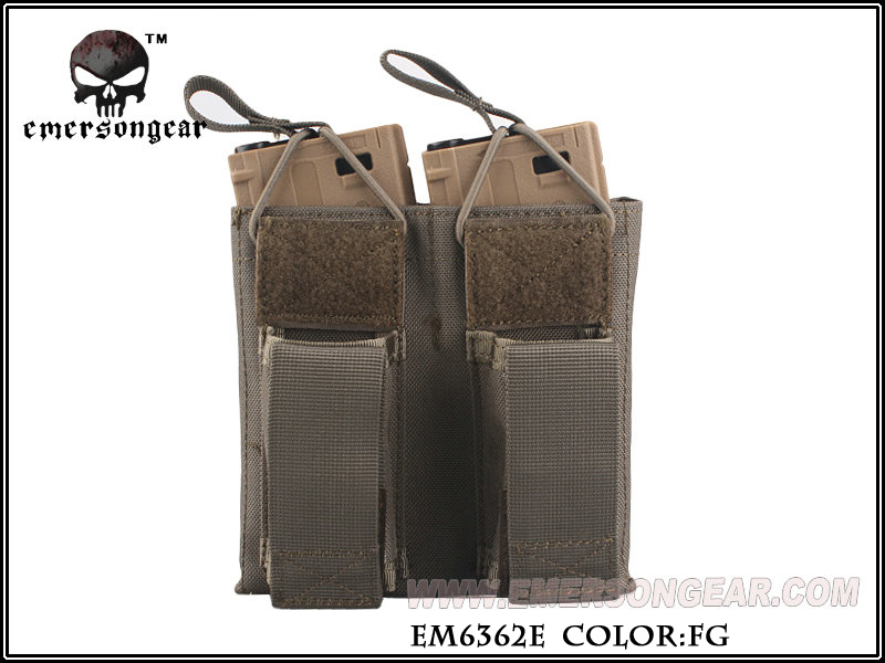 Emerson 5.56 & Pistol Double Open Top Magazine Pouch - FG