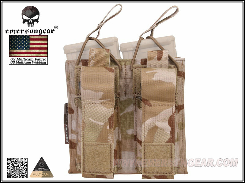 Emerson 5.56 & Pistol Double Open Top Mag Pouch - Multicam Arid