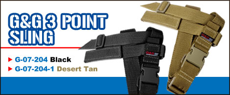 G&G 3 Point Tactical Sling - Black (Nylon Band System)
