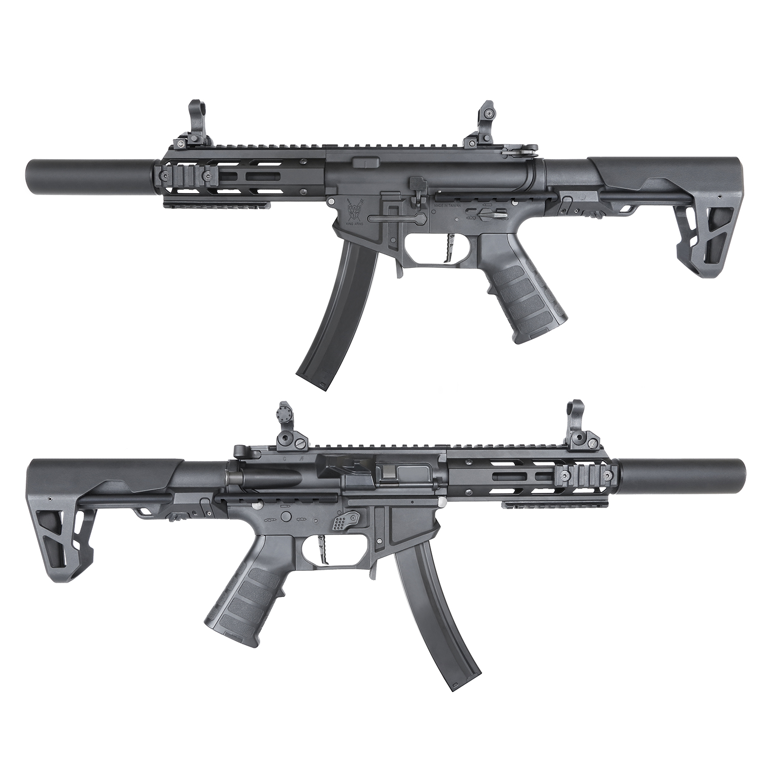 King Arms PDW 9mm SBR SD AEG Rifle - Black