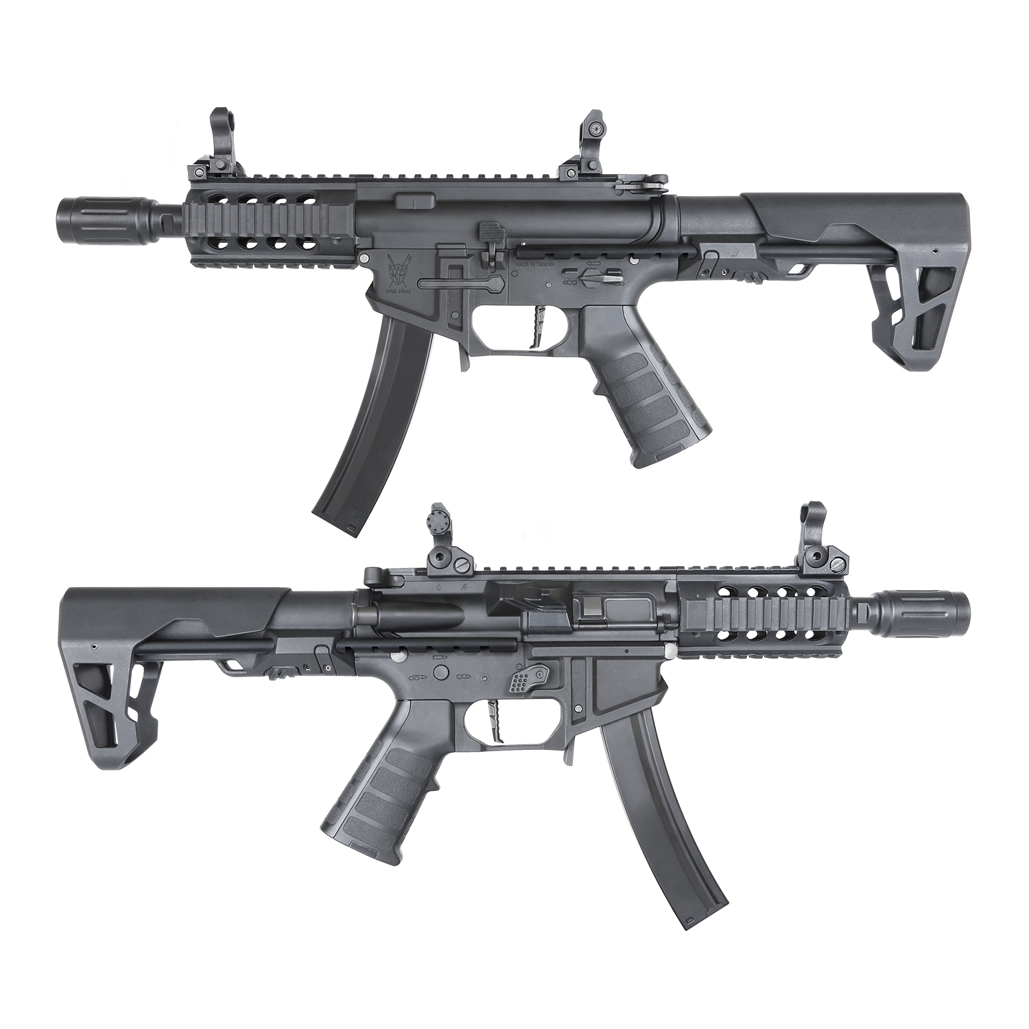 King Arms PDW 9mm SBR Shorty AEG w/ Mosfet - BK (Polymer)