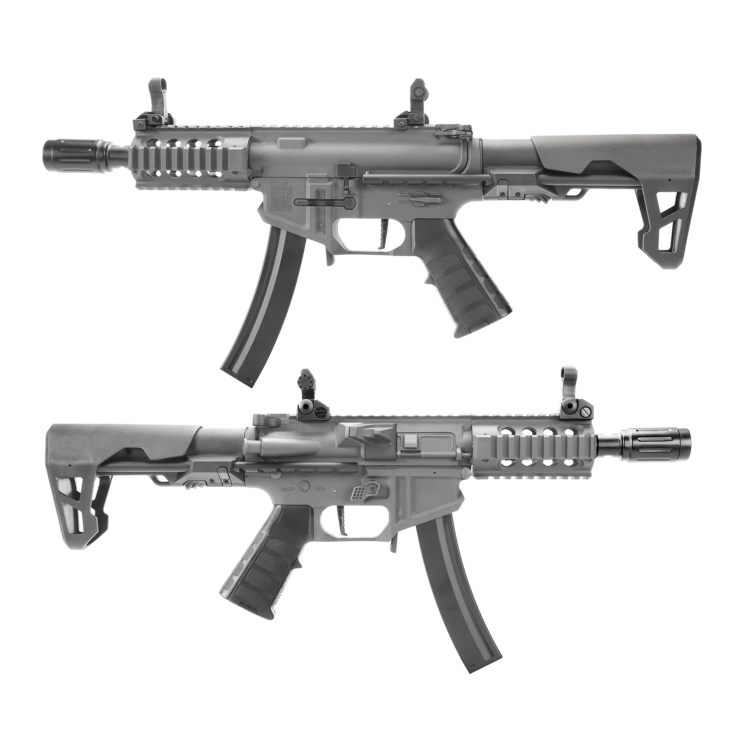 King Arms PDW 9mm SBR Shorty AEG w/ Mosfet - Grey (Polymer)