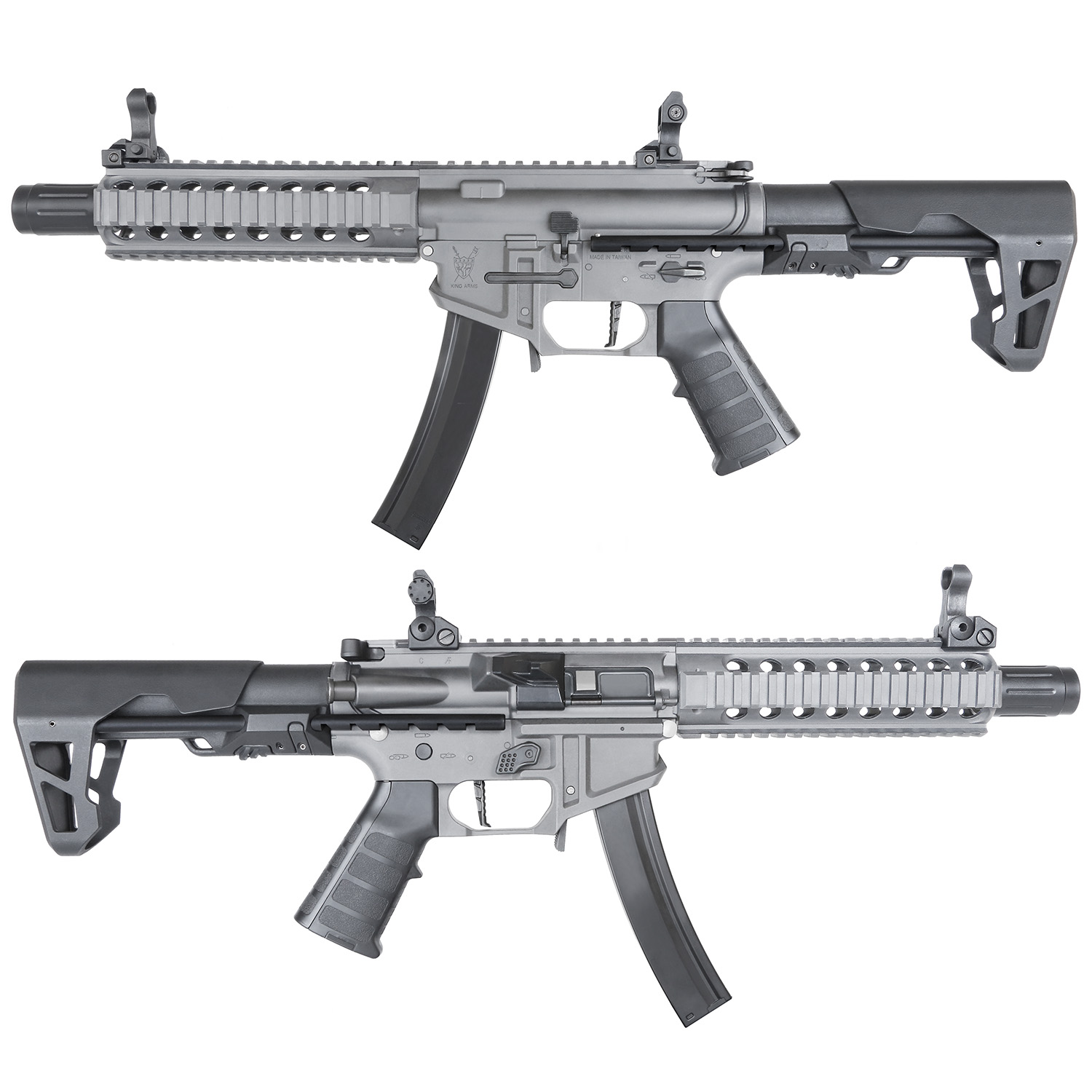 King Arms PDW 9mm SBR Long AEG Rifle - Gun Metal Grey