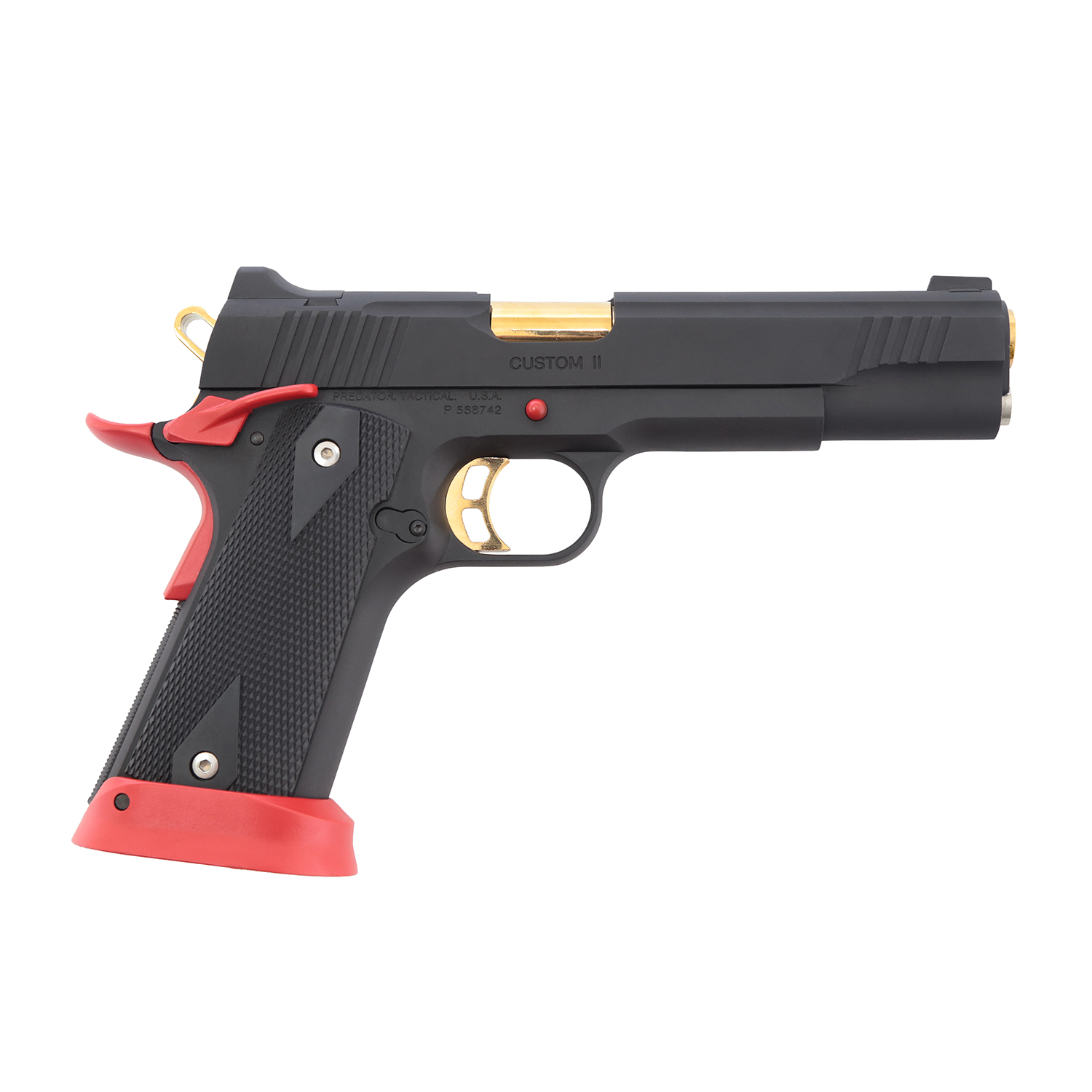 King Arms Predator Iron Shrike Full Metal GBB Pistol- Red & Gold