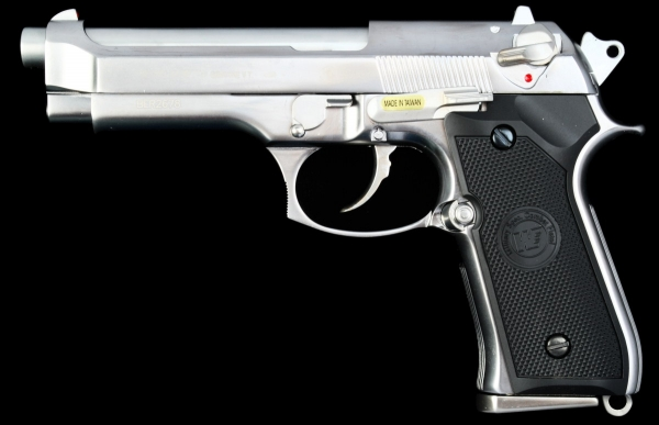 WE Beretta M92S Full Metal Gas Blowback Pistol - Matte Chrome