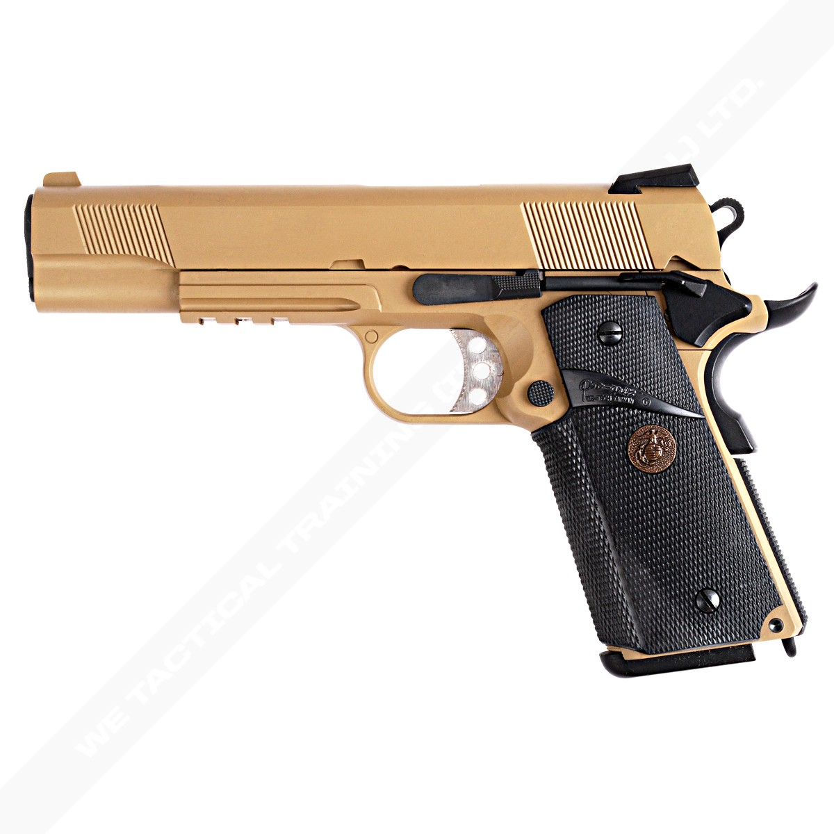 WE 1911 / MEU Railed Full Metal Gas Blowback Pistol - Tan