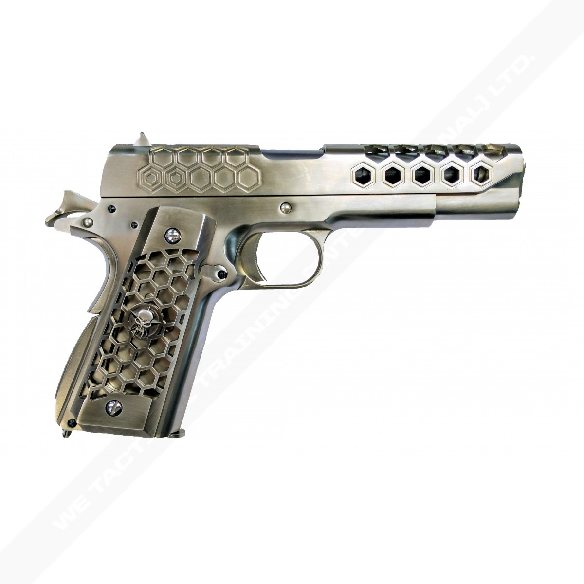 WE 1911 Hex Cut Full Metal Gas Blowback Pistol - Silver