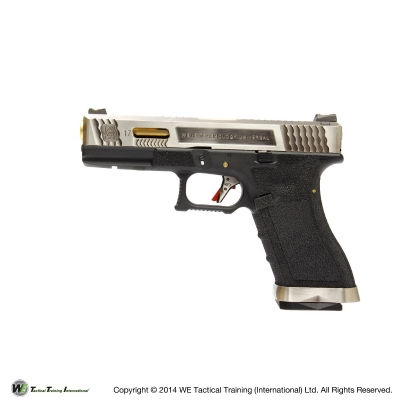 WE G17 G Force T3 Custom GBB Pistol - Silver w/ Gold Barrel