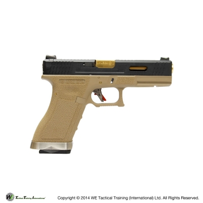 WE G18C G Force T6 Custom GBB Pistol - Tan Frame, Gold Barrel