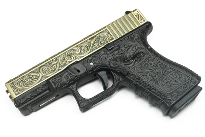 WE Glock 19 / G19 GBB Pistol - Floral Pattern, Bronze