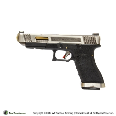 WE G34 G Force T3 Custom GBB Pistol- Silver Slide w/ Gold Barrel