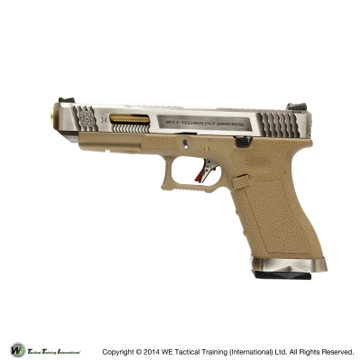 WE G34 G Force T4 Custom GBB Pistol - Silver Slide, Tan Frame