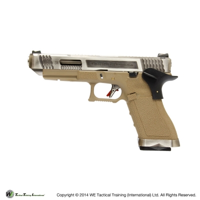 WE G34 G Force T8 Custom GBB Pistol - Silver Slide, Tan Frame