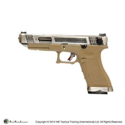 WE G35 G Force T8 Custom GBB Pistol (Full Auto) - Silver / Tan