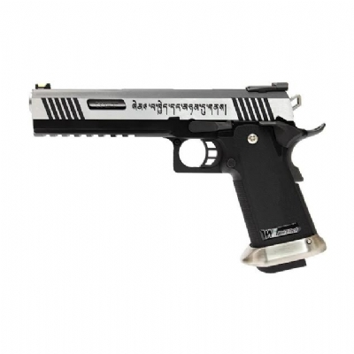 "WE 6"" Hi-Capa Type A iREX Metal Gas Blowback Pistol - Silver"