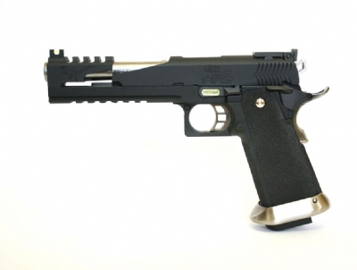 "WE 6"" Hi-Capa Dragon Type B iREX Metal GBB Pistol - BK/SV"