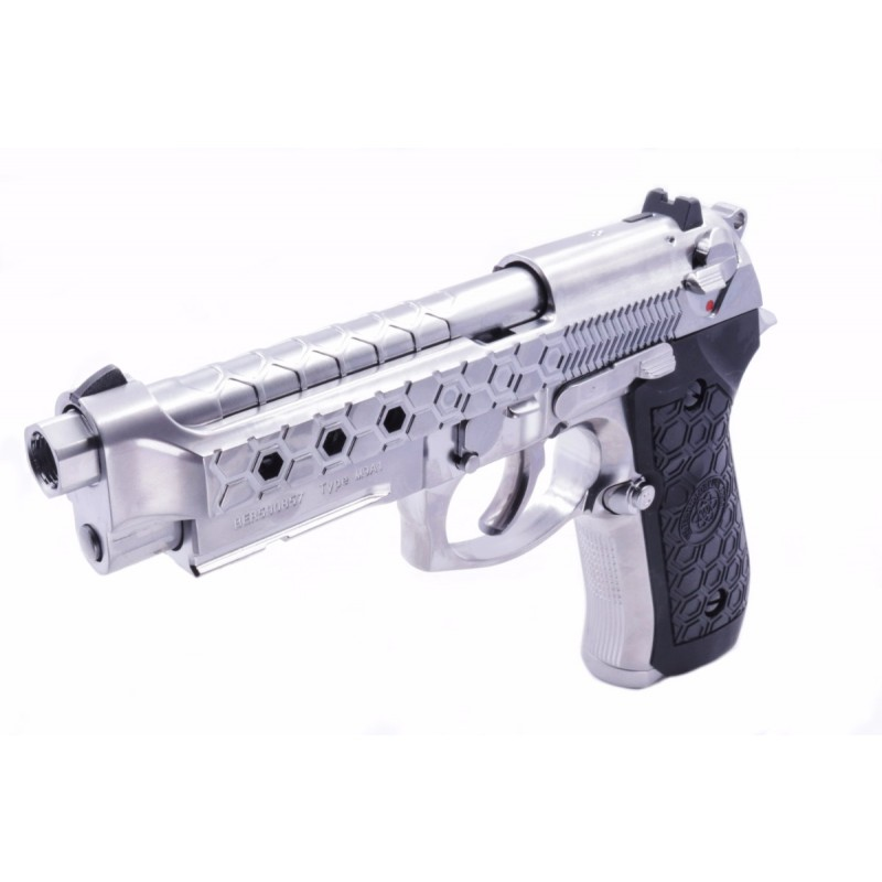 WE M9A1 Hex Cut (New Gen) Full Metal GBB Pistol - Silver