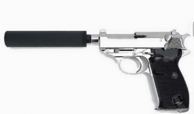 WE P38 Short Full Metal GBB Pistol w/ Power Up Silencer - Silver
