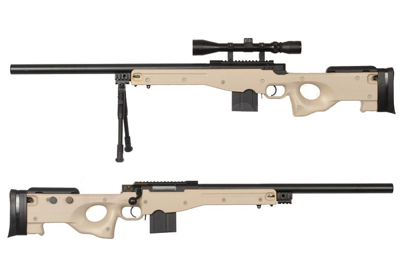 WELL 4401D Spring Bolt Action Sniper Rifle w/ Scope & Bipod- TAN