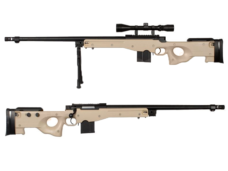 WELL 4402D Spring Bolt Action Sniper Rifle w/ Bipod & Scope- TAN