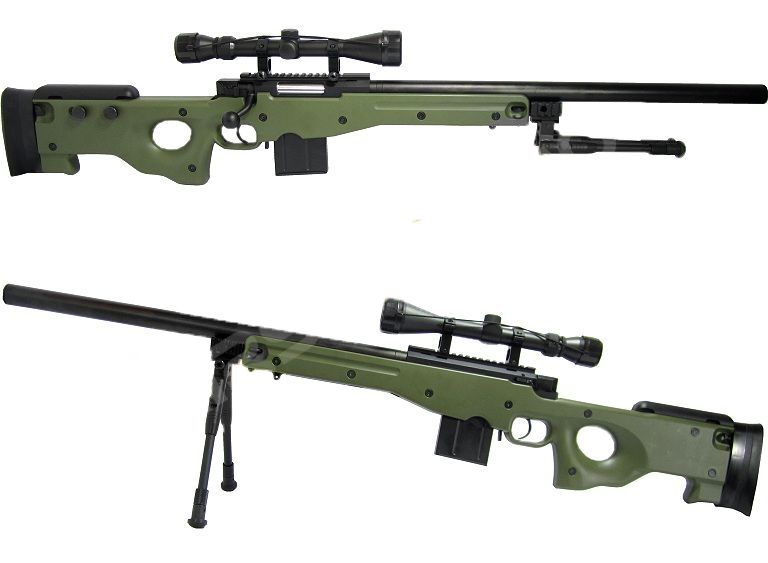 WELL 4401D Spring Bolt Action Sniper Rifle w/ Scope & Bipod - OD