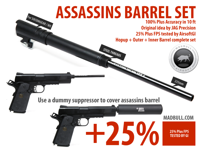 Madbull 235mm Assassins Barrel Set for SOCOM GEAR and WE 1911/ME