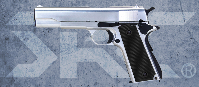 SRC 1911 Full Metal Gas Blowback Pistol - Silver