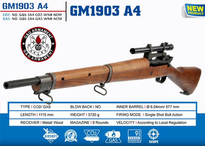 G&G GM1903 A4 Bolt Action GAS Rifle- Real Wood w/ Scope & 2 mags