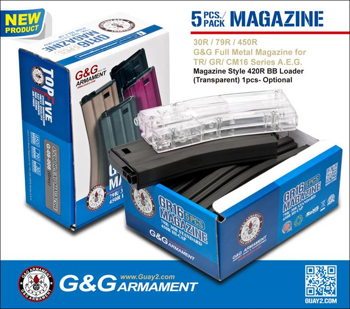G&G 79R STANDARD MAGAZINE FOR GR16 (Black) 5PCS / PACK