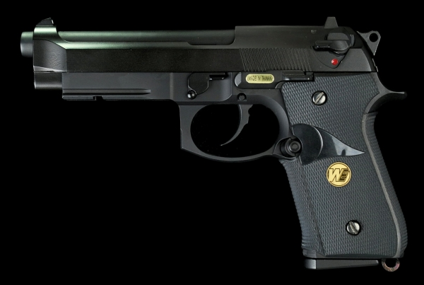 WE Beretta M9A1 Full Metal GBB Pistol - Black Marine Style Grip