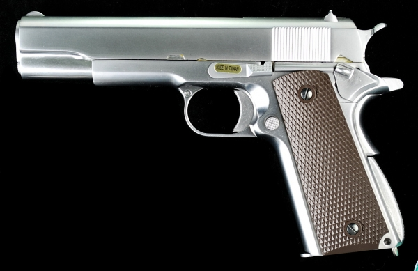 WE 1911 Full Metal GBB Pistol - Matte Chrome w/ Brown Grip