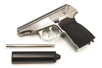 WE PM Makarov Full Metal GBB Pistol - Silver w/Power Up Silencer