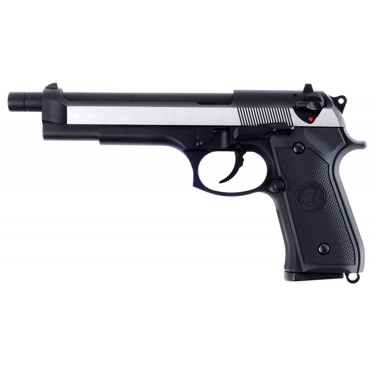 WE Beretta M92 L Full Metal GBB Pistol -2 Tone, Black Grip
